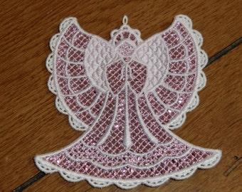 Embroidered Magnet - Christmas - Mylar Angel Pink/White