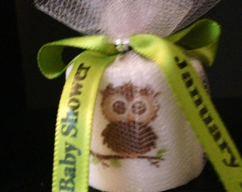 25 Baby Shower Favors, Cute Owl Candle Favors, Wedding Favors,Baptism , Holy Communition Favors, Votive With Personalized Ribbon