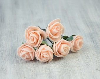 Light apricot  Rose  Hair Pins. Hair Clip, Spring ,  bridal hair clip, Hair Accessories, hair clip, Bobby pin, rustic wedding, set of 6