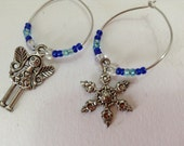 Wine charms - beaded wine charms - fairy and snowflake design. Set of 2