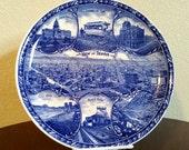 Vintage Blue and White Denver Transferware Souvenir Plate