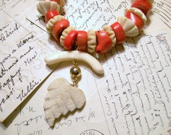Red Coral -  Bone Necklace - Pendant - Carved Coral Leaf - Upcycled