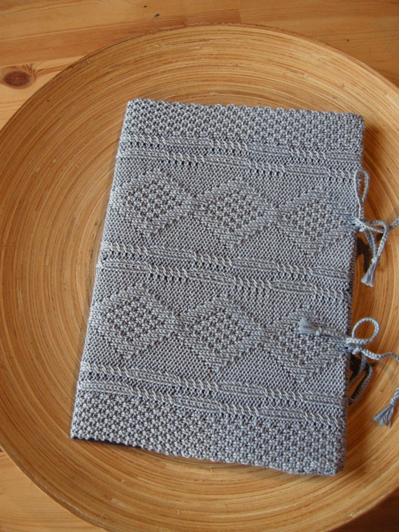 SECRETS - A4 Sketch book with an handknit cover - Pure cotton - sky blue