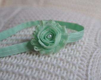 Mint Headband. Flower Headband. Baby Headband. Spring Headband.