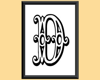 Typography DIGITAL PRINT Monogram Initial Wall Art Tropicana Letter D 5x7