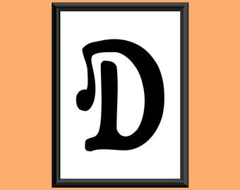 Typography DIGITAL PRINT Monogram Initial Wall Art Sixties Letter D 5x7