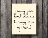 Instant Download - I carry your heart with me - Printable - Printable Print - Printable File - JPG - Digital Download