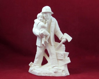 READY To SHIP Ready to Paint Firefighter Saving a Baby in Ceramic Bisque - DIY, 11 inches, ceramic bisque