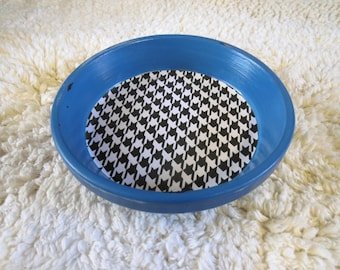 Blue Geometric Houndstooth Print Hand Painted Terra Cotta 5 inch Coaster Dish Home Decor