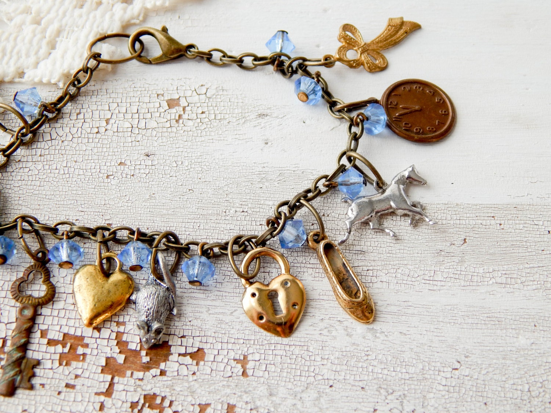 cinderella charm bracelet vintage charm by eleanorandlorena