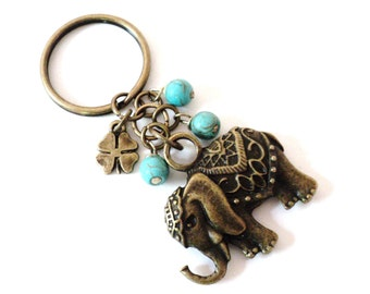 Elephant Keychain, Bag Charm, Yoga Accessories, Party Favors, Gifts For Her, Christmas Gift, Stocking Stuffer Gift, Turquoise Keychan