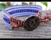 Five 5 Row Boho Chic Beaded Leather Cuff Bracelet with Sapphire Blue Glass and Cobalt Blue Aventurine Gemstone Beads