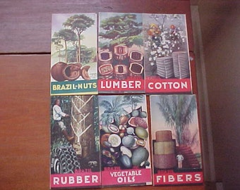Lot of Six Brazil Brochures from the 1939 New York World's Fair Colorful 4-Panel: Rubber Fibers Lumber Cotton Oils Nuts Excellent Condition
