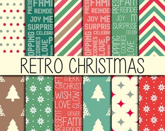 Retro Christmas Patterns - Xmas backgrounds - Instant download - Christmas wrapping - Digital Paper Pack - Set of 12 Papers - 12x12 inch