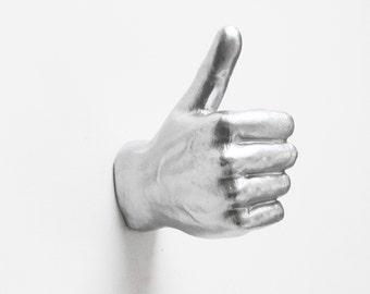 Gift for Him, Hand Hook, Wall Hook, Coat Rack, Silver Hand, Hand, Wall Hooks, Hand Wall Decor, Quirky Decor, Hand Sculpture, Hand Wall Hook,