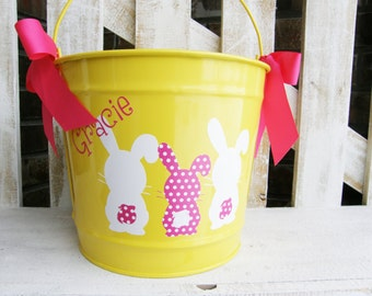 Personalized Easter Bunny 5qt Pail / Easter Bucket / Basket