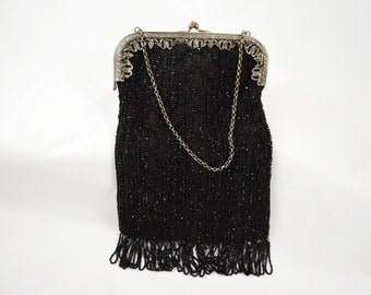 Vintage 1920's Beaded Purse Black Jet Beads German Silver