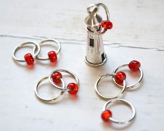 Nubble Lighthouse / Knitting Stitch Marker Set / Snag Free Stitch Markers