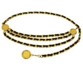 Chanel 1990s Vintage Opulent 3 Strand Chain Belt Gold-Tone Metal Black Leather Signature Style Size Small