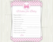 Butterfly Wishes for Baby Pink Gingham cards printable shower decoration party well wish advice butterflies
