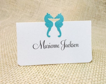 Customize Any Color, 10 Wedding Place Cards / Escort Cards, 2 Seahorses, Teal, Showers, Guest Information Printed