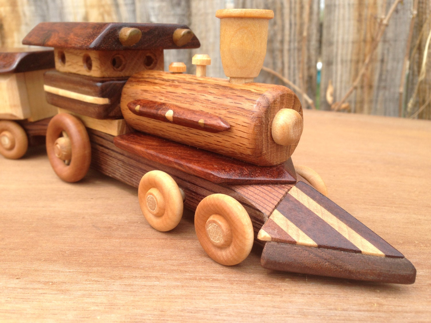 Wooden Toy Trains : Wooden toy train with locomotive steam engine by