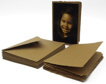 Kraft blank cards with envelopes, handmade recycled paper, 4.5x6.5 inches, set of 10