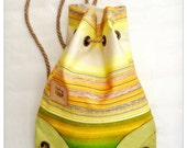 RESERVED for S.  Radha bag, upcycled, waterproof, yellow, apple green striped canvas and leather backpack.