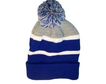 Personalized Throwback Beanie Skull Cap Pom Custom Grey and Blue Stripe