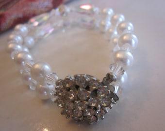 Vintage Rhinestone and Pearl Double Strand Crystal Bracelet, Bridal, Wedding, Bridesmaid, Engagement