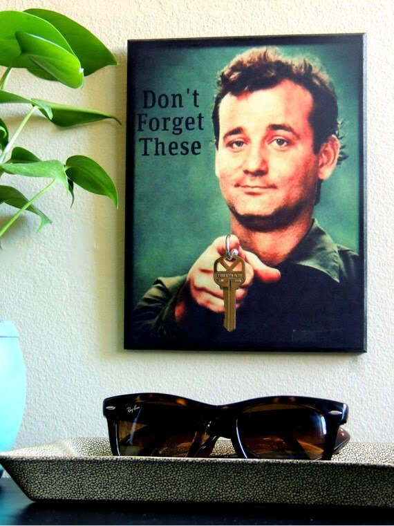 SALE! Key Holder BiLL MURRAY Key Holder & Wood Mounted Wall Art