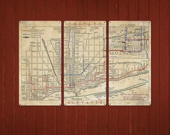 Chicago train map Etsy