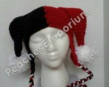 Harley Quinn Hat, Jester, Joker, Crochet, Adult, Handmade HarleyQuinn, DC Comics, Batman, Custom Colors, Cosplay, Comicon, Made To Order