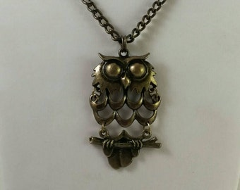 Antique Brass Necklace With A Brass Owl Pendant