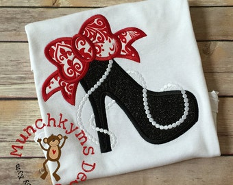 Diva Heels with Bow & Pearls Custom Tee Shirt - Customizable -  Infant to Youth 28
