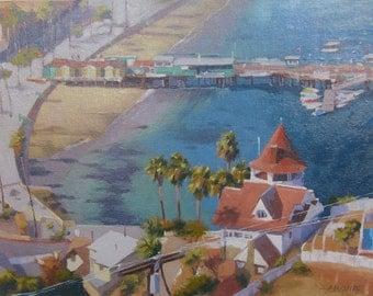 Catalina - Island - View - Avalon - California - Seaside - Shoreline - Beach - Aerial View - Painting - Original Oil - Landscape - Seascape