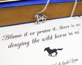 Virginia Woolf Wild Horse Necklace  Book Lover Gift  Horse Jewelry  Gift for Horse Lover  Quote Necklace  Feminist Jewelry