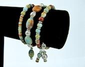 Memory Wire Bracelet, Picasso Jasper, Antiqued Silver Beads, Handmade, Wire Wrapped Dangles, Multi Wrap Bracelet, Gift, Seafoam Green, Beige