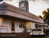 Old Chevy at Route 66 Diner - Fine Art Photo - Route 66 - Diner - 56 Chevy - Vintage Car - Retro - Americana - Gifts for Guys - Wall Art