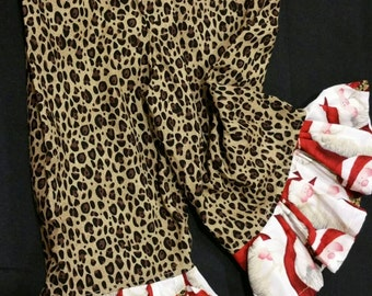 M2M  Santa  with  Leopard  accent  Boutique  Ruffle  Pants