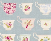 Fabric Tilda Porcelain Cup Blue Fat Quarter (50cmx55cm)