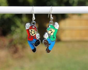 Mario and Luigi character earrings