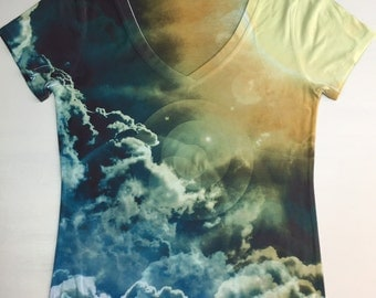 woman galaxy print top, t shirt and tank(205) XXS-PLUS SIZE