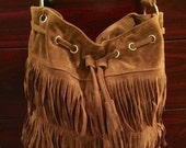 Hip fringe purse, brown ultrasuede