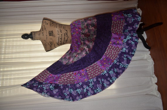 Purple Gypsy Skirt-Patchwork Tiered Hippie Prairie Skirt