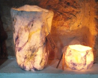 """Wet felted Natural dyed organic Luminary candle holder """"Wild Flower"""" in white, yellow, purple and green. Set of two."""
