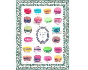 ART PRINT Laduree Macaron Flavors Menu Chart Print from Watercolor Painting, Wall Art, Home Decor