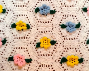 Pink, Blue and Yellow Floral Baby Blanket