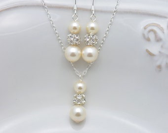 6 Ivory Pearl Bridesmaid Sets, Set of 6 Bridesmaid Necklaces and Earrings, Cream Pearl and Rhinestone Jewelry Sets 0238
