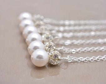 Set of 7 Pearl and Rhinestone Necklaces, 7 Bridesmaid Necklaces, Pearl Pendant Necklaces, Pearl and Crystal, Sterling Silver Chain 0192
